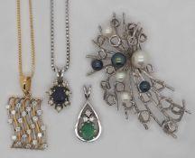 1 Konv. Schmuck GG/WG 14/18ct. Brill. Perlen Smaragd Saphir 1 Perle fehlt