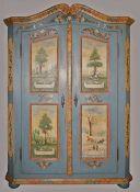 "1 Bauernschrank 20. Jh., Holz bemalt bez. ""1837"", 2-türig, in Kassetten Darstellung d"