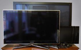 """1 Plasma-Fernseher SAMSUNG """"PS-50 C 7 H"""" ca. 50 Zoll sowie Flachbildschirmfernseher SA"""