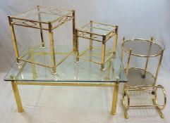 1 Konv. Kleinmöbel nztl. Metall messingfarben Couchtisch ca. 50x119x80cm, Beistelltis