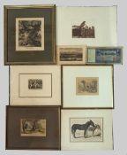 1 Konv. Radierungen/Holzschnitte u.a., 18./19. Jh., versch. Künstler: u.a. Johann Eli