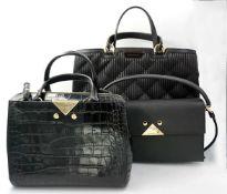 3 Damenhandtaschen EMPORIO ARMANI versch. Modelle/Größen, jew. mit Staubbeutel, min.