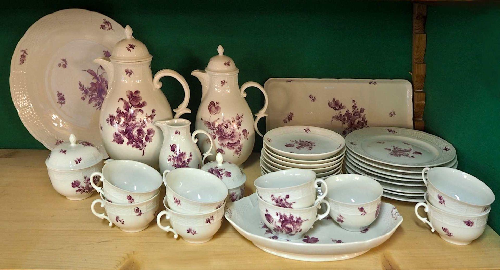 1 Kaffeeservice Porzellan NYMPHENBURG Unterglasurmarke, weiß mit violettem Blumendeko - Bild 3 aus 3