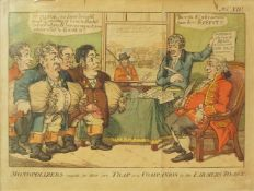"1 Karikatur/altkolorierter Kupferstich ""Monopolizes caught in their own Trap or a Companion to t"