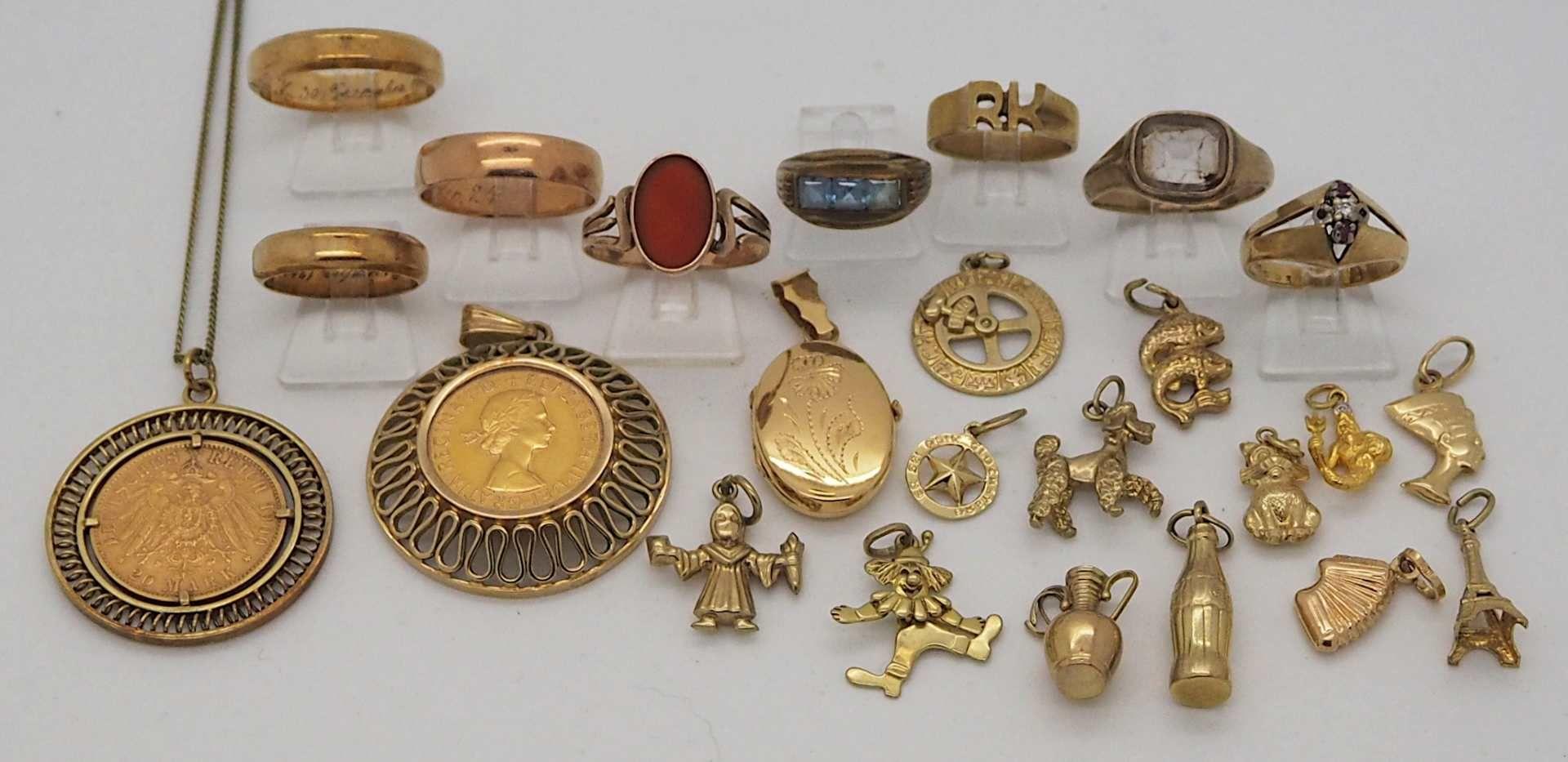 1 Konv. Schmuck GG u.a., z.T. gefasste Goldmünzen England, Deutsches Reich