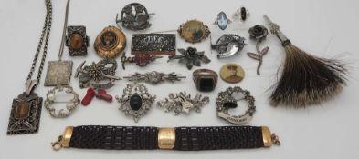 1 Konv. Trachten-/Biedermeier-/Schmuck um 1900 z.T. Silber, Haarflecht-Arbeit, in der