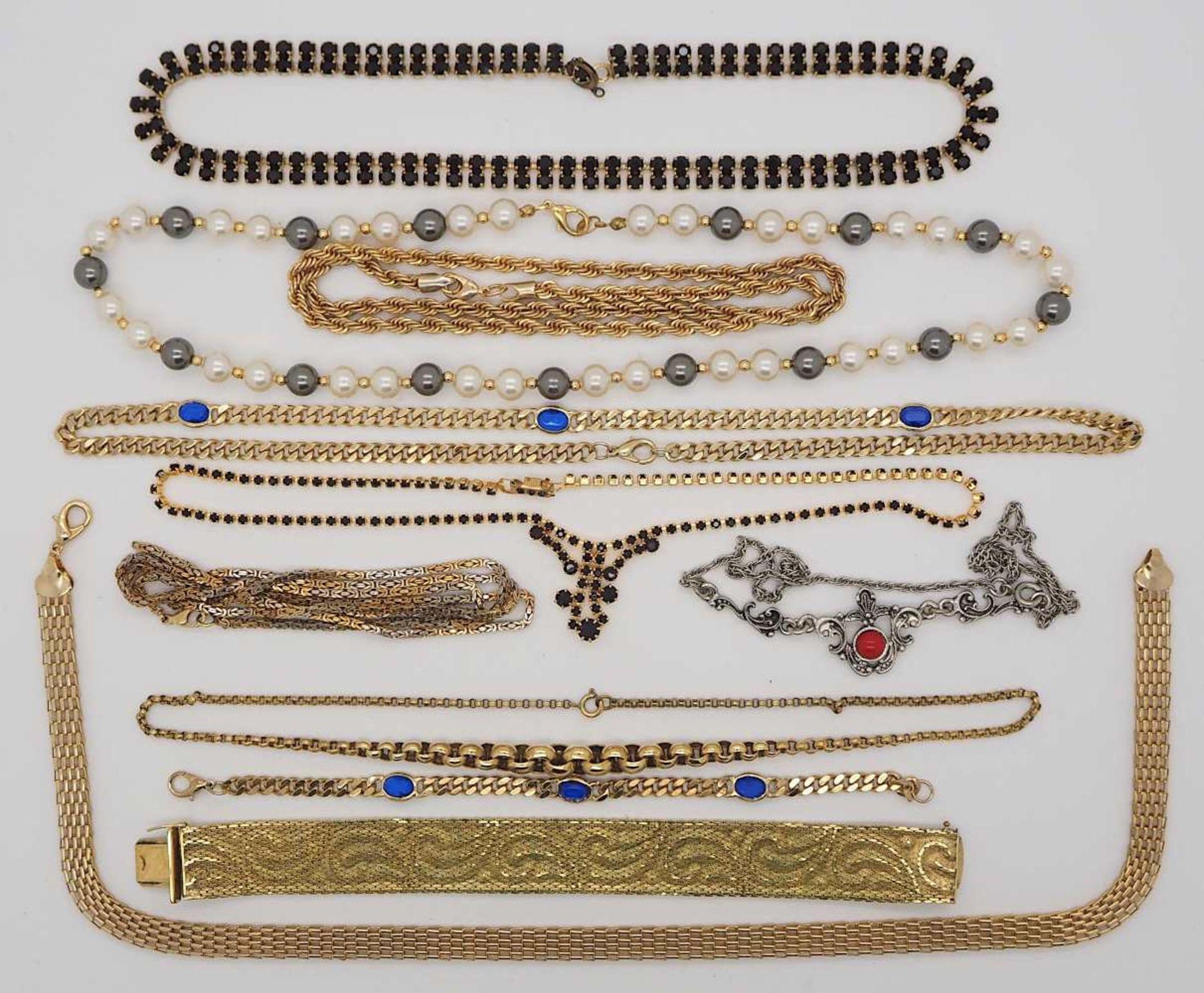 1 Konv. Schmuck GG/WG/Silber/Mode u.a. Granate, Amethyste, Korallen, Bein u.a., in der - Bild 3 aus 4
