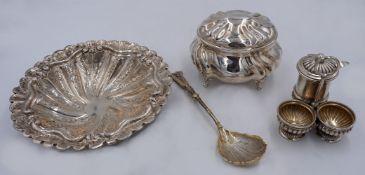 """1 kleines Konv. Silber 800/925 1 Zuckerdose Sterling Silber, gest. """"HW"""" (wohl Hermann"""
