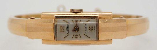 1 Spangenuhr GG/RG 18ct. AUREOLE wohl 1920er/1930er Jahre, Sicherheitsverschluss fehlt