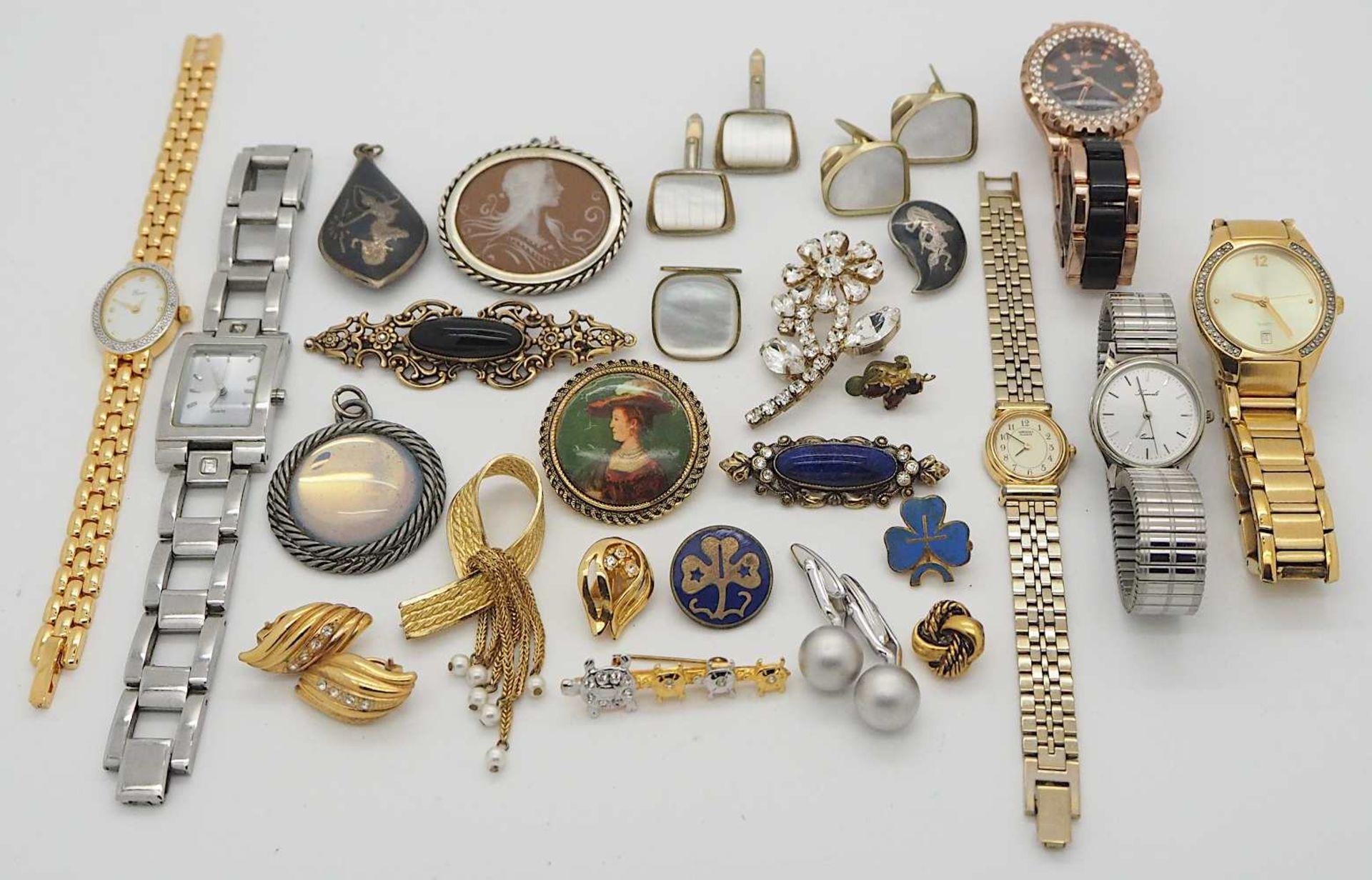 1 Konv. Schmuck/Armbanduhren u,.a., Mode u.a. in der Schatulle