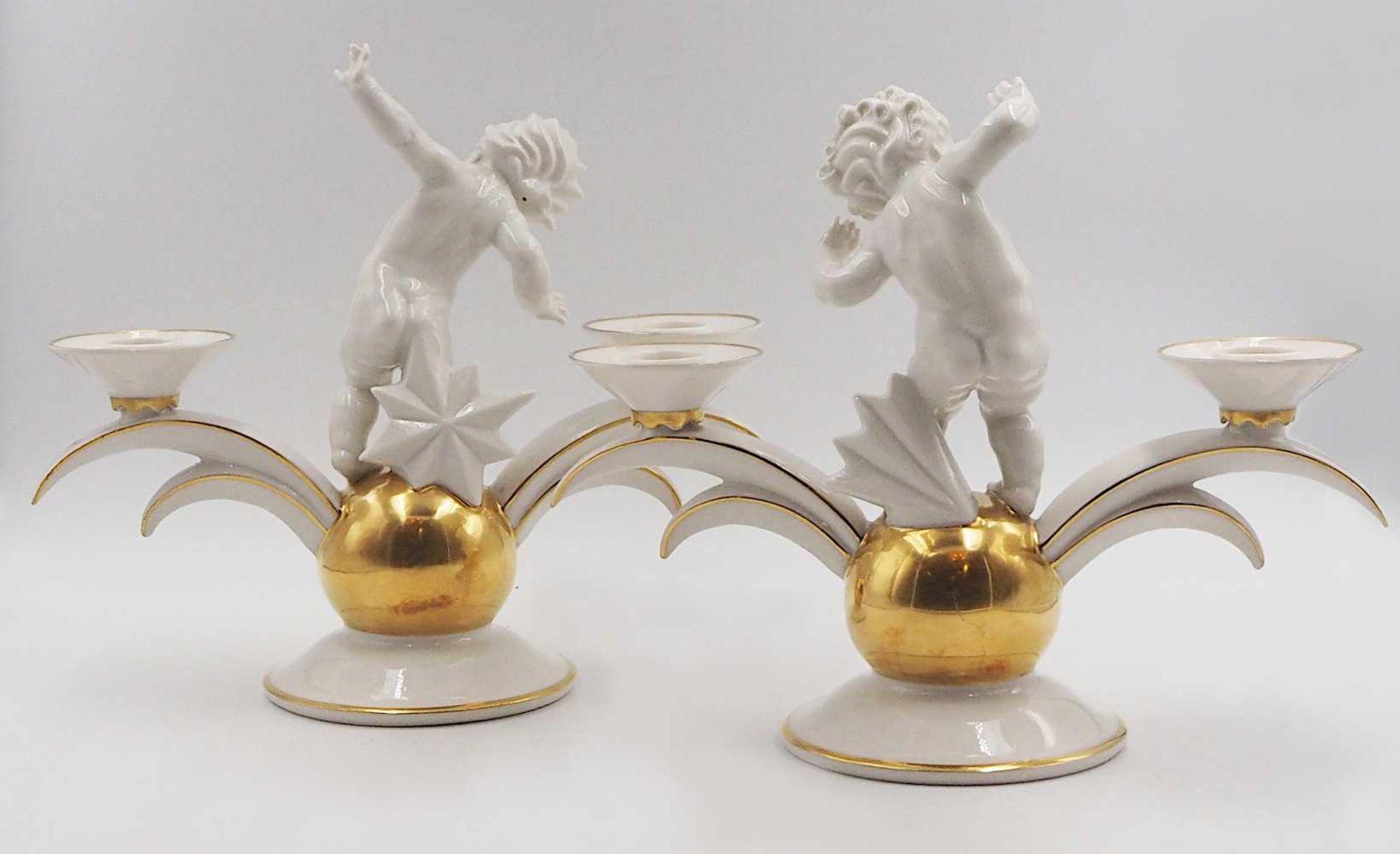 1 Pendant Kerzenleuchter Porzellan HUTSCHENREUTHER, z.T. US-Zone Designer: K. TUTTER, - Bild 2 aus 5