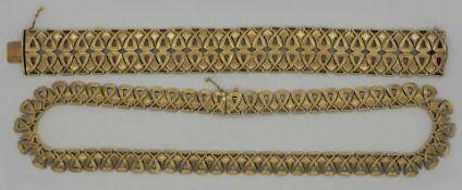 1 Set Schmuck: Armband Collier GG 14ct. mattiert gearb.