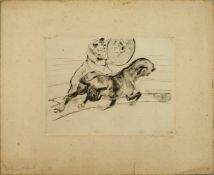 """1 Radierung """"Clown mit Hund"""" R.u. undeutl. bleistiftsign. L.u. num. 1/6 und bez., 17,5"""