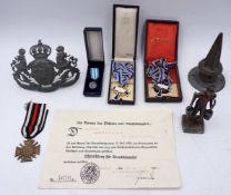 """1 Konv. Militaria 1./2. WK: 1 Orden """"Ehrenkreuz für Frontkämpfer"""" mit Verleihungsurk"""