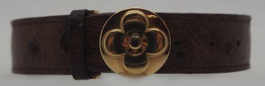 1 Damenarmband LOUIS VUITTON Verschluss verg. verstellbar Straussenleder Tsp.
