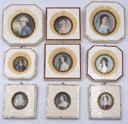 """1 Konv. Miniaturen auf Elfenbein gemalt, versch. Größen/Formen u.a. """"Herzog von Rüt"""