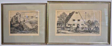 """1 Radierung """"Fränkisches Wirtshaus"""" R.u. sign. R. SCH./bleistiftsign. R. SCHIESTL (wo"""