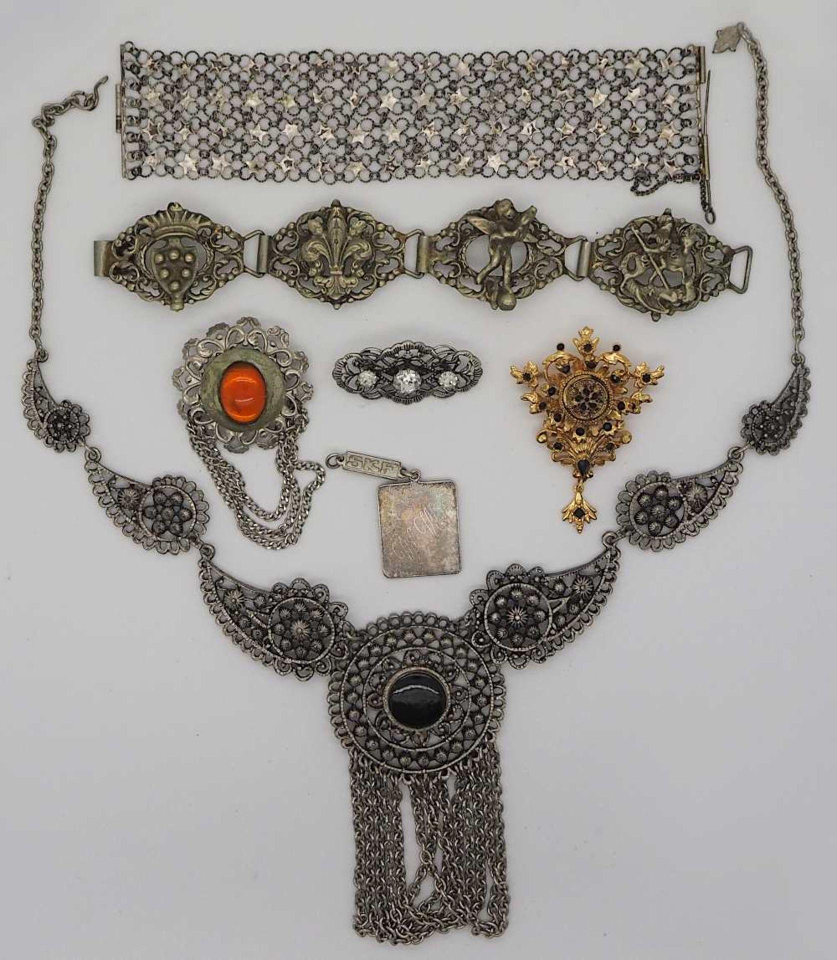 1 Konv. Schmuck Silber/Mode u.a., z.T. Biedermeier, min. GG 8ct. Granate u.a. - Bild 2 aus 3