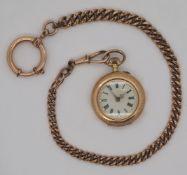 1 Damentaschenuhr GG 14ct., um 1900 besch.; Uhrkette wohl vergoldet