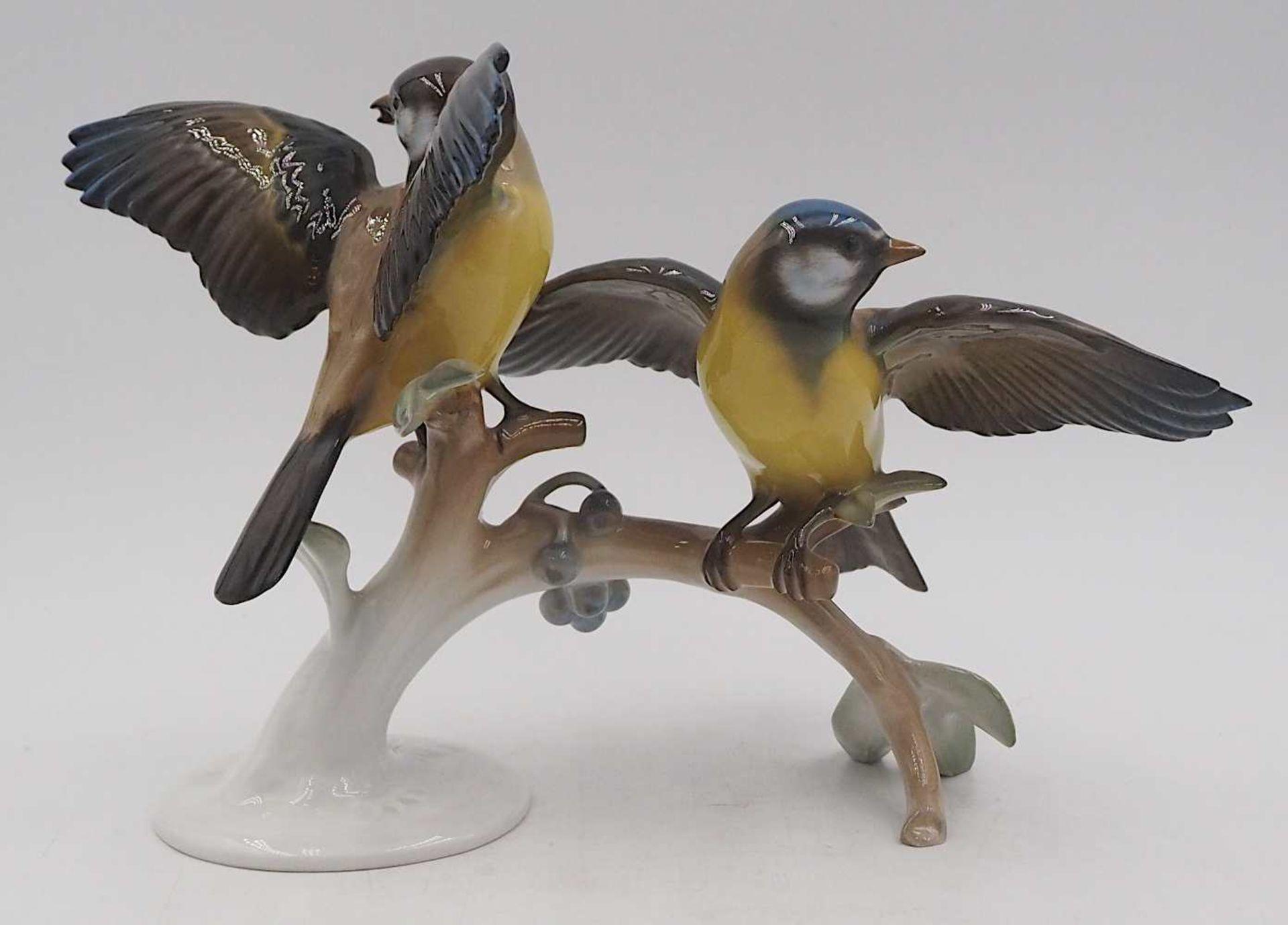 """1 Figurengruppe Porzellan """"Blau- und Kohlmeise auf Ast"""" ROSENTHAL, Design: Hugo MEISEL <br / - Bild 3 aus 5"""