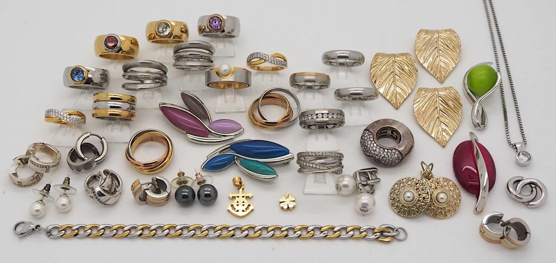 1 Konv. Schmuck Silber/Mode u.a. Edelstahl, Armbanduhren, in der Schatulle - Bild 2 aus 3