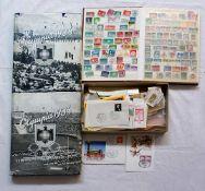 """2 Bücher """"Olympia 1936"""" in 2 Bänden sowie 1 Konv. Briefmarken BRD nztl., z.T. in Alb"""