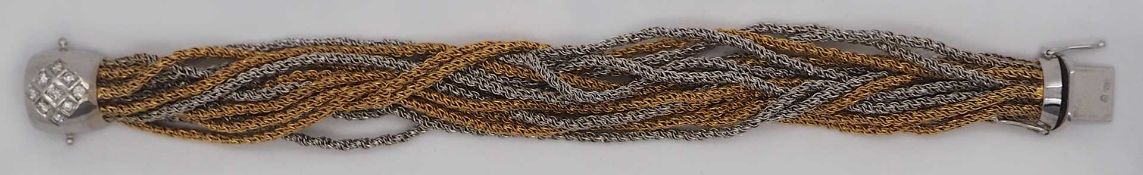 1 Damenarmband mit vielen Strängen GG/WG 18ct. Brill. am Verschluss, L ca. 18cm