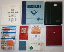 1 Konv. Briefmarken: BRD, Alle Welt u.a., in 3 Alben z.T. min. bestückt, davon 1x mit