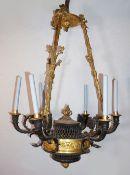 1 Deckenlüster wohl 1. Hälfte 19. Jh. im Stile des Empire, Frankreich Eisen / Bronze