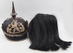 """1 Helm mit Spitze wohl Hessen um 1900/1910 Lederglocke mit Emblem """"Löwe"""", Schuppenket"""