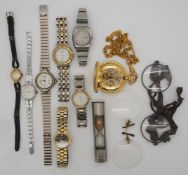 1 Konv. Armbanduhren Edelstahl u.a. z.T. vergoldet, 2 Brillen um 1900, in der Metalldo