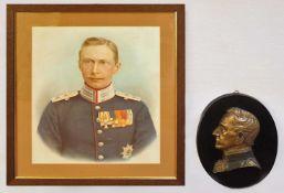 """1 Bronzerelief """"Preußischer Generalfeldmarschall Helmuth Graf von Moltke"""" auf ovalem"""