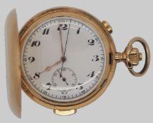 1 Taschenuhr GG 14ct., um 1900, gemarkt mit Schweizer Goldbeschauzeichen Ziffernblatt