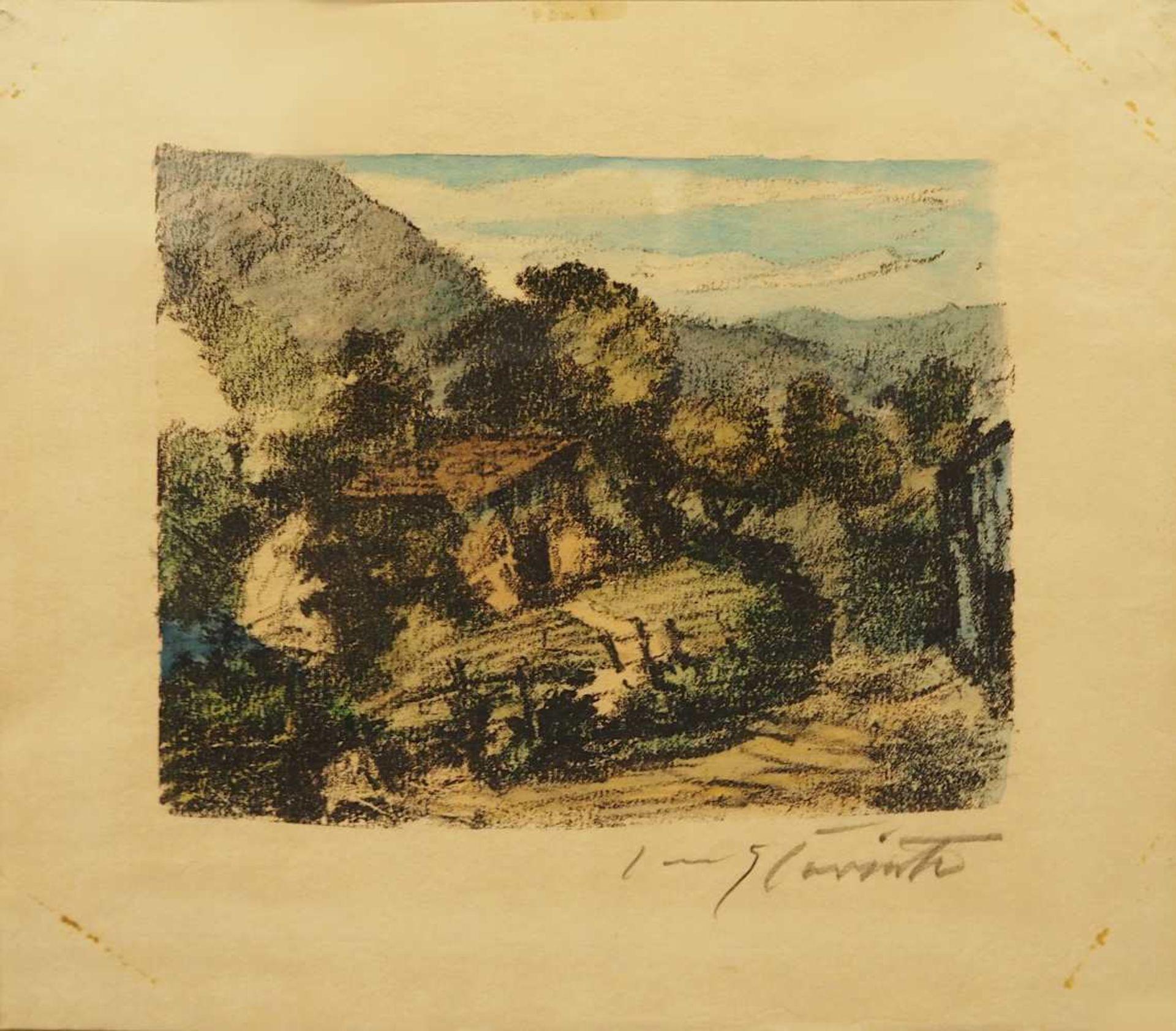 """1 Farblithografie bleistiftsign. CORINTH (wohl Lovis C. 1858-1925), """"Hütte am Walchensee"""","""