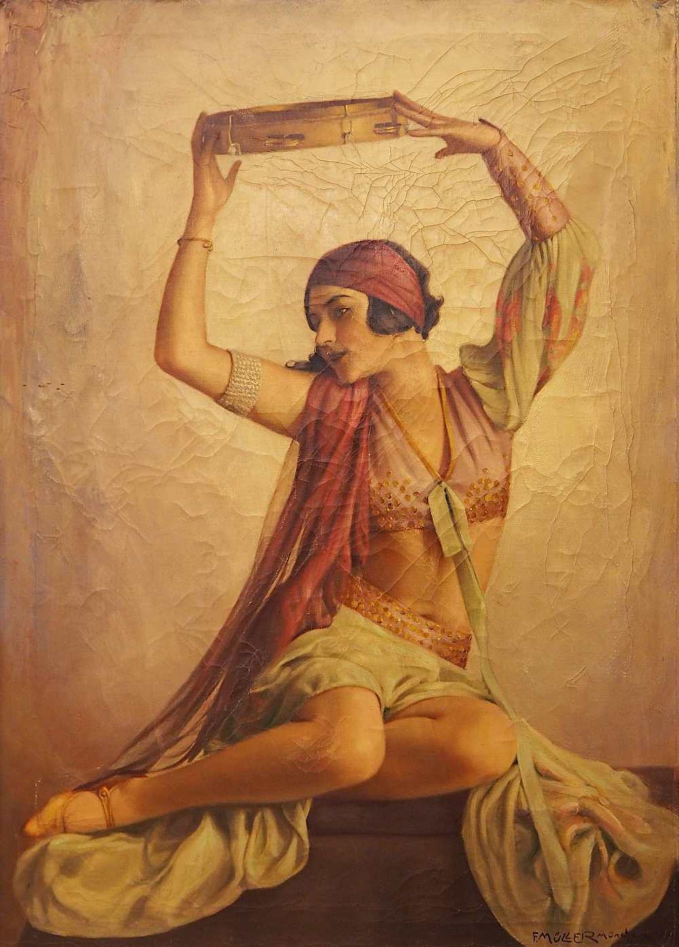 """1 Ölgemälde """"Orientalische Tänzerin mit Tamburin"""" R.u. sign. F. MÜLLER (wohl um 19"""