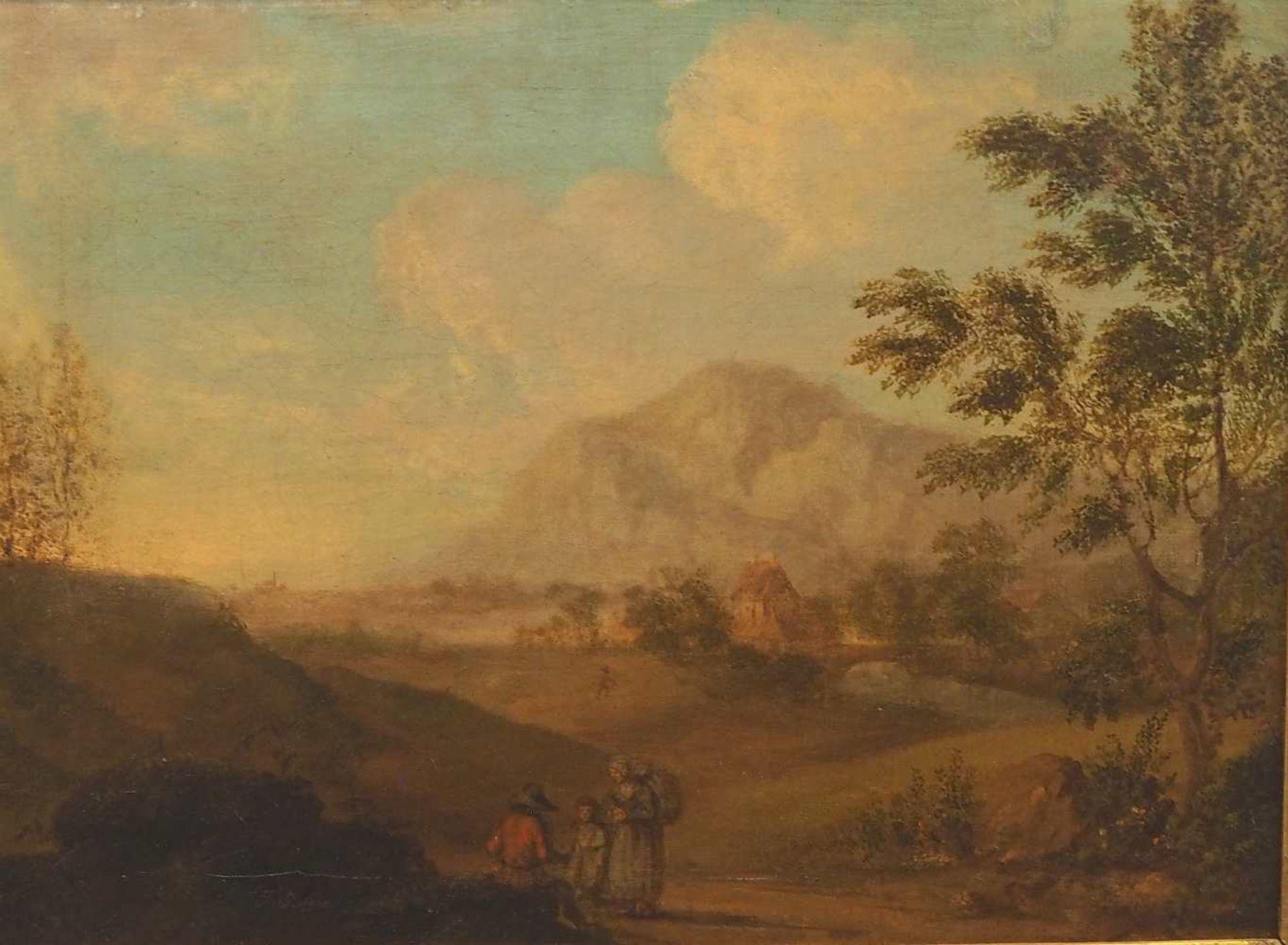 """1 Ölgemälde""""Idealisierte Landschaft mit Personenstaffage"""", L.u. sign. J. STOISSER ("""