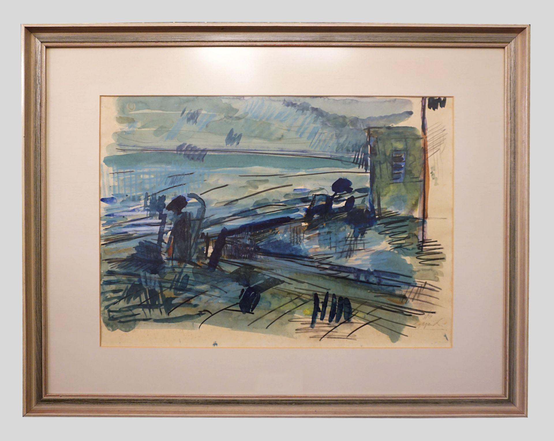 """1 Lithografie """"Flusslandschaft"""", R.u. bleistiftsigniert EPPICH (wohl Egon E. 1927-1982"""