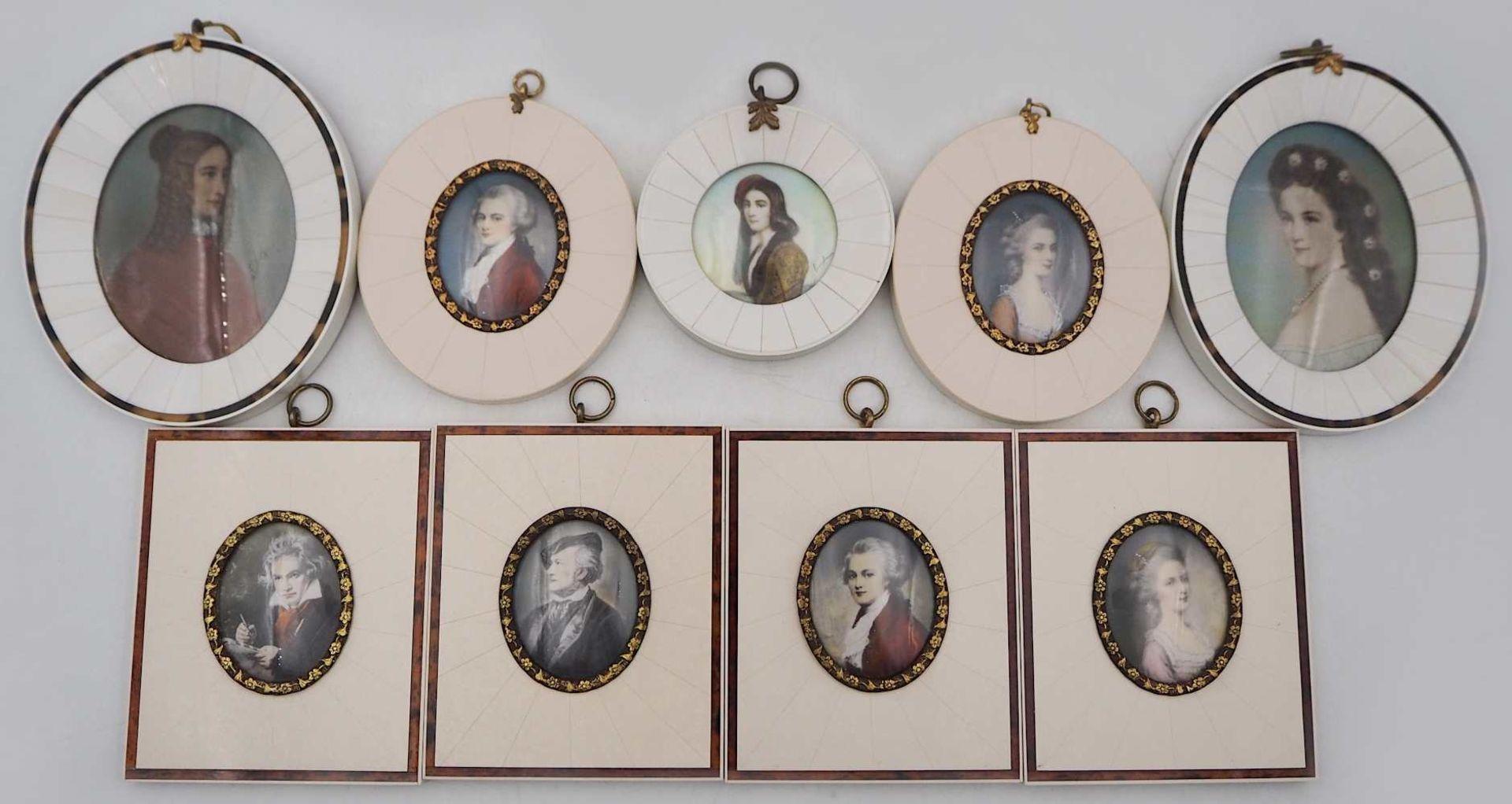 "1 Konv. Miniaturen auf Elfenbein: ""Ludwig Van Beethoven"", ""Richard Wagner"", ""Wolfgang"