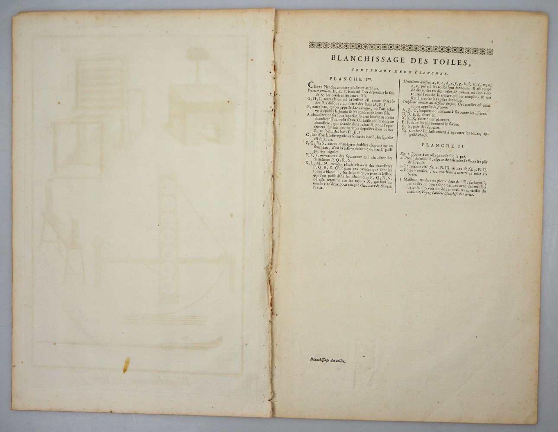 """2 Kupferstiche """"Blanchissage des Toiles (Waschen und Bleichen von Leinen)"""" L.u. bez. GOUSSIE - Bild 2 aus 2"""