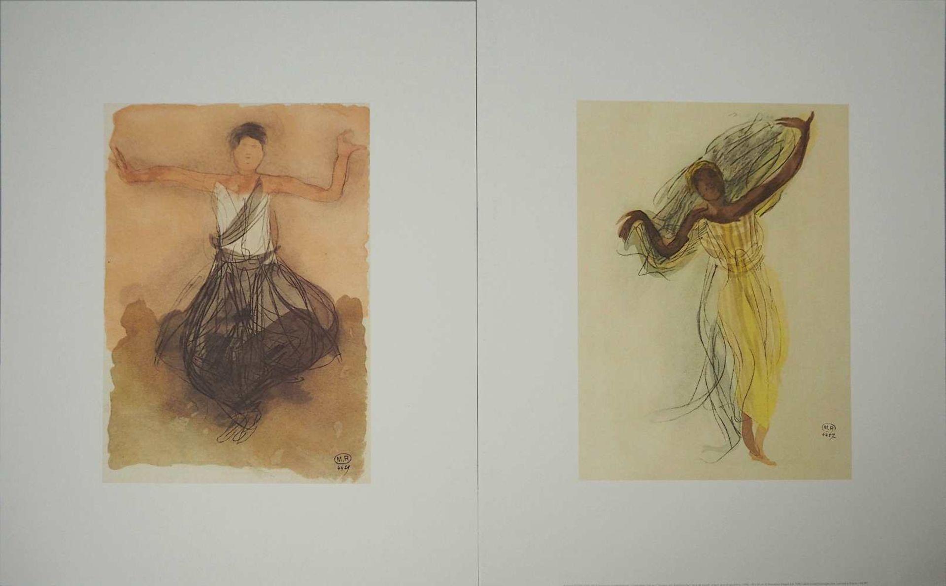 "2 Farboffset-Lithographien ""Danseuses Cambodgiennes"" rücks. zugeschrieben Auguste RODIN <br"