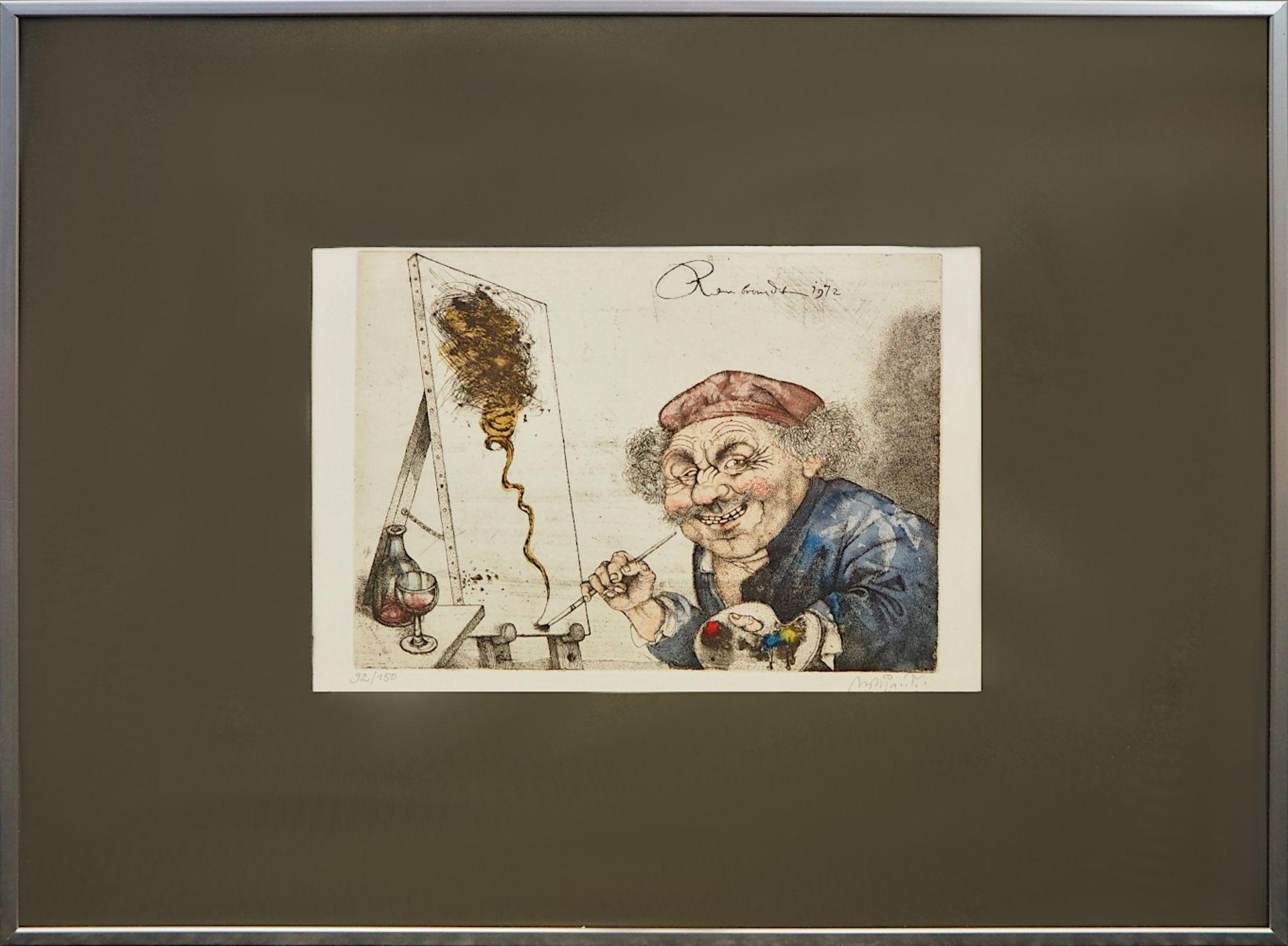 "1 Farblithografie R.u. bleistiftsign. M. M. PRECHTL (wohl Michael Mathias P. 1926-2003), ""Rembra - Bild 2 aus 6"