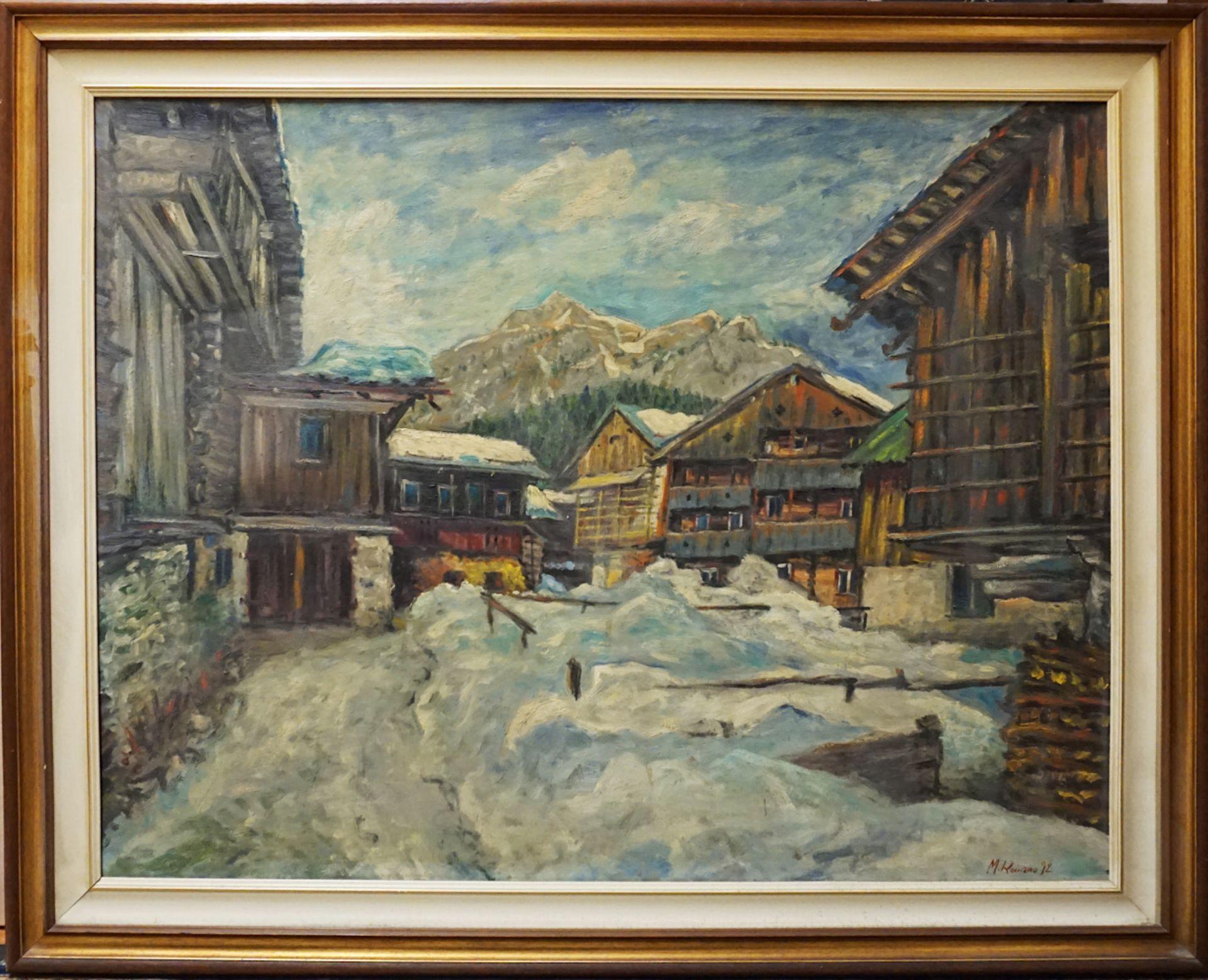 """1 Ölgemälde """"Gebirgsdorf im Schnee"""" R.u. sign. M. ROMANO (wohl Michele R. * 1925), d - Bild 2 aus 4"""