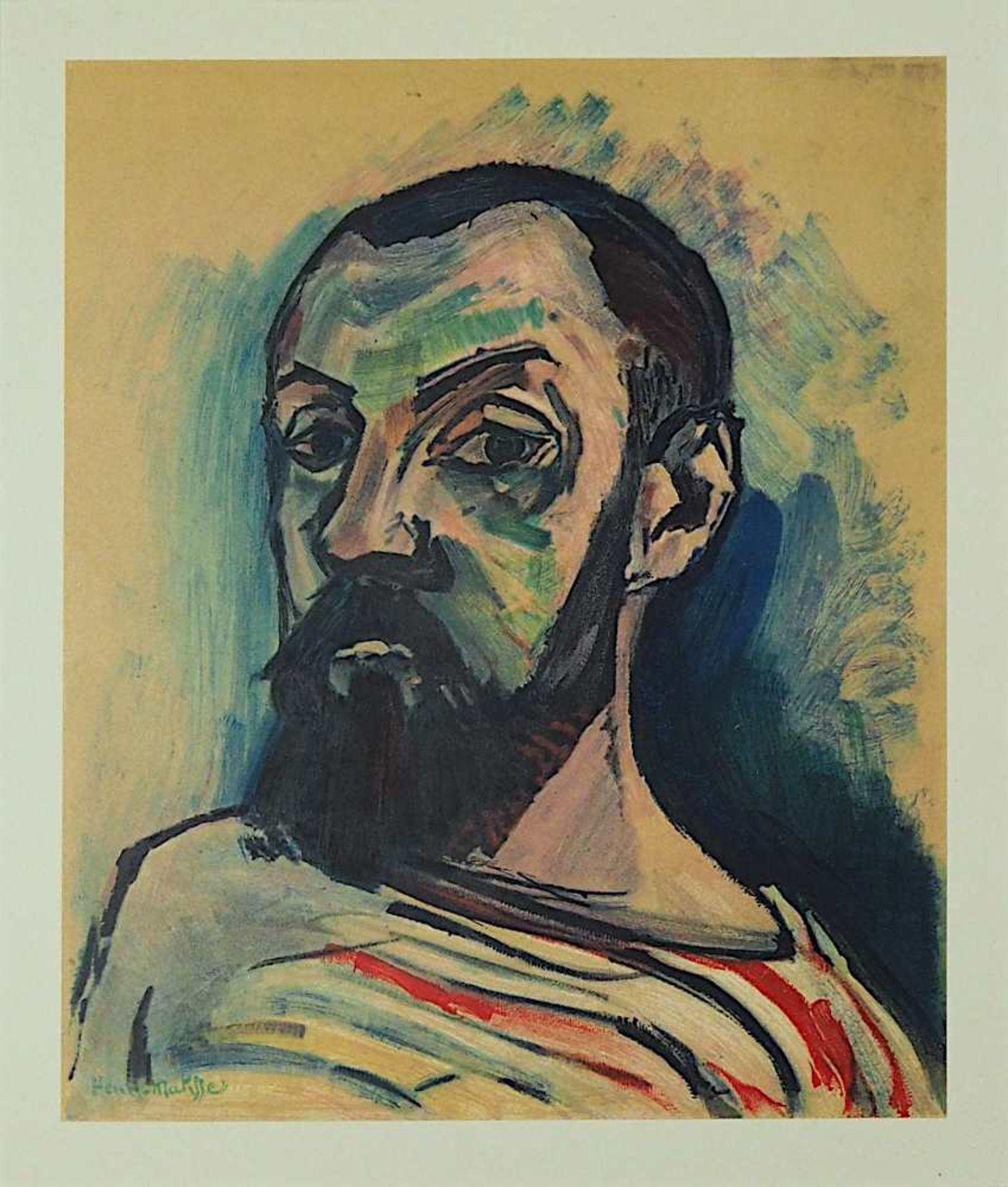 """2 Farblithographien je """"Portrait"""" je L.u. sign./rücks. zugeschrieben Henri MATISSE (w - Bild 4 aus 5"""