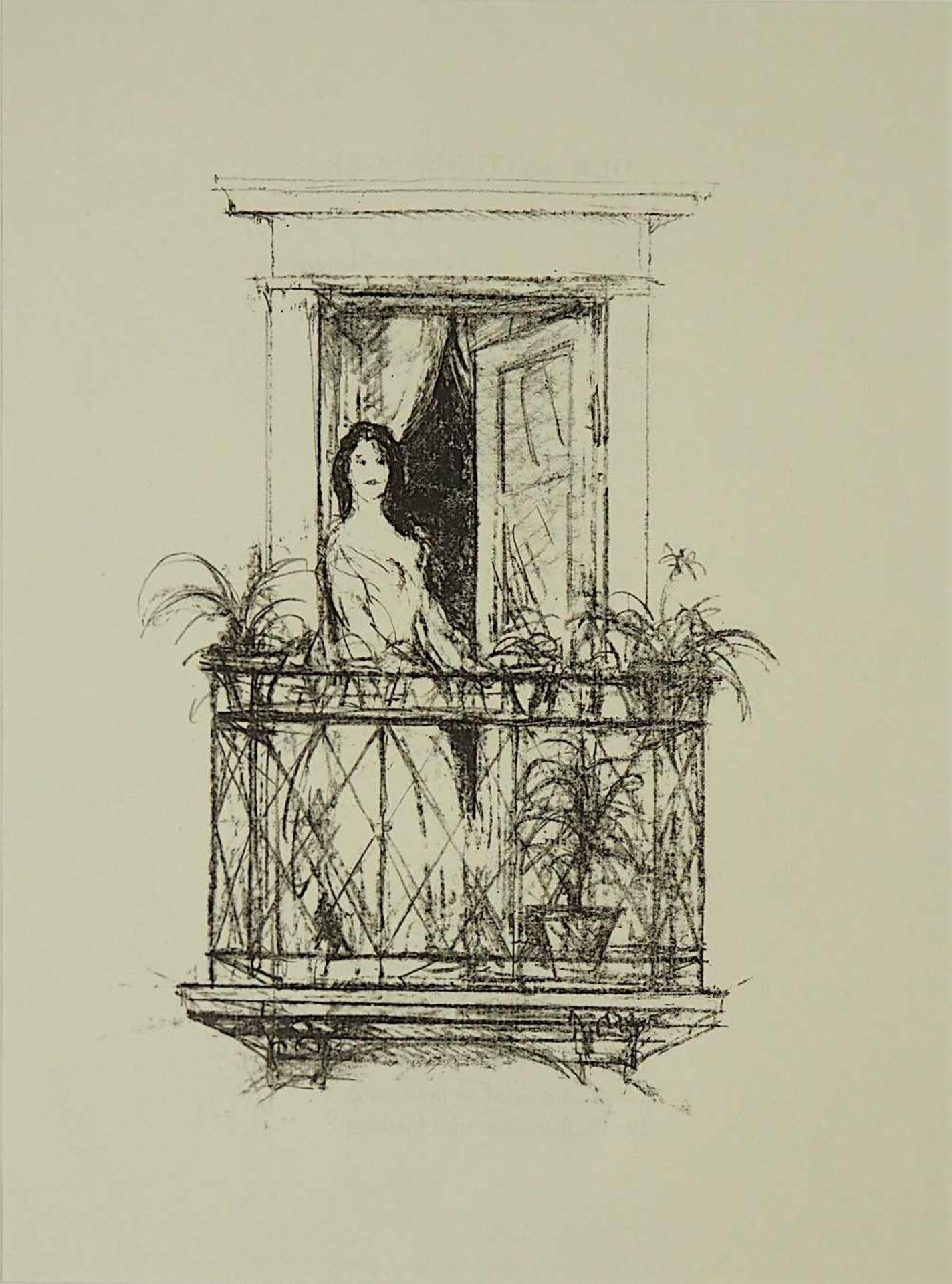 """2 Lithographien """"Sehnsucht"""" und """"Anliegen"""" rücks. zugeschrieben Hans MEID (wohl 1883- - Bild 4 aus 5"""