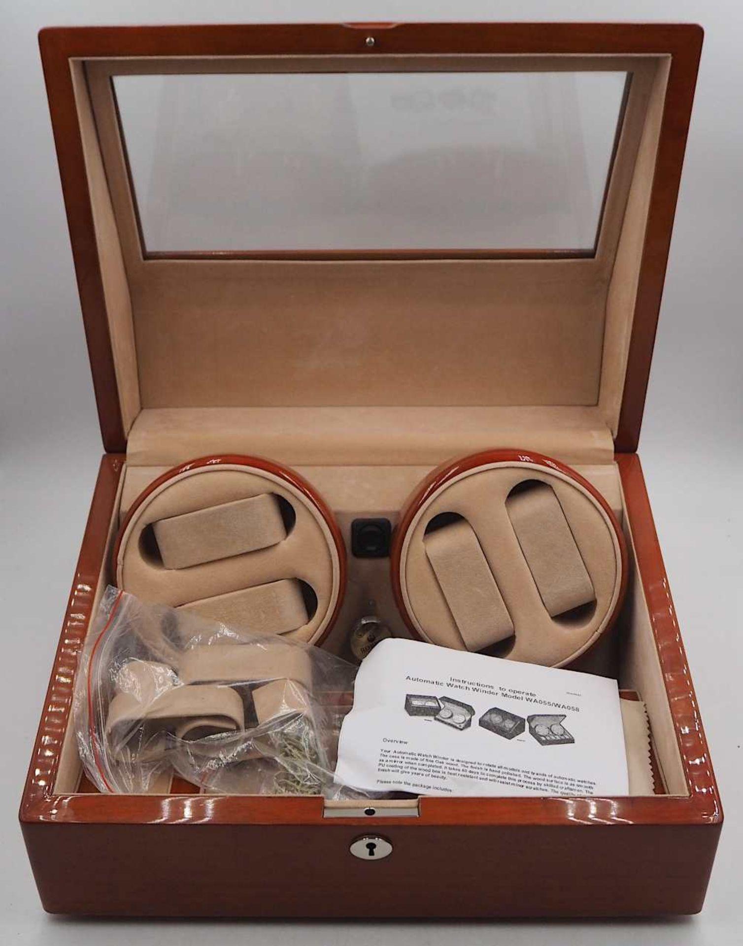 """1 Uhrenbeweger ROBERT Modell: """"WA058"""", Holz mit Glaseinsatz 4 Dreh- und 6 Aufbewahrung"""