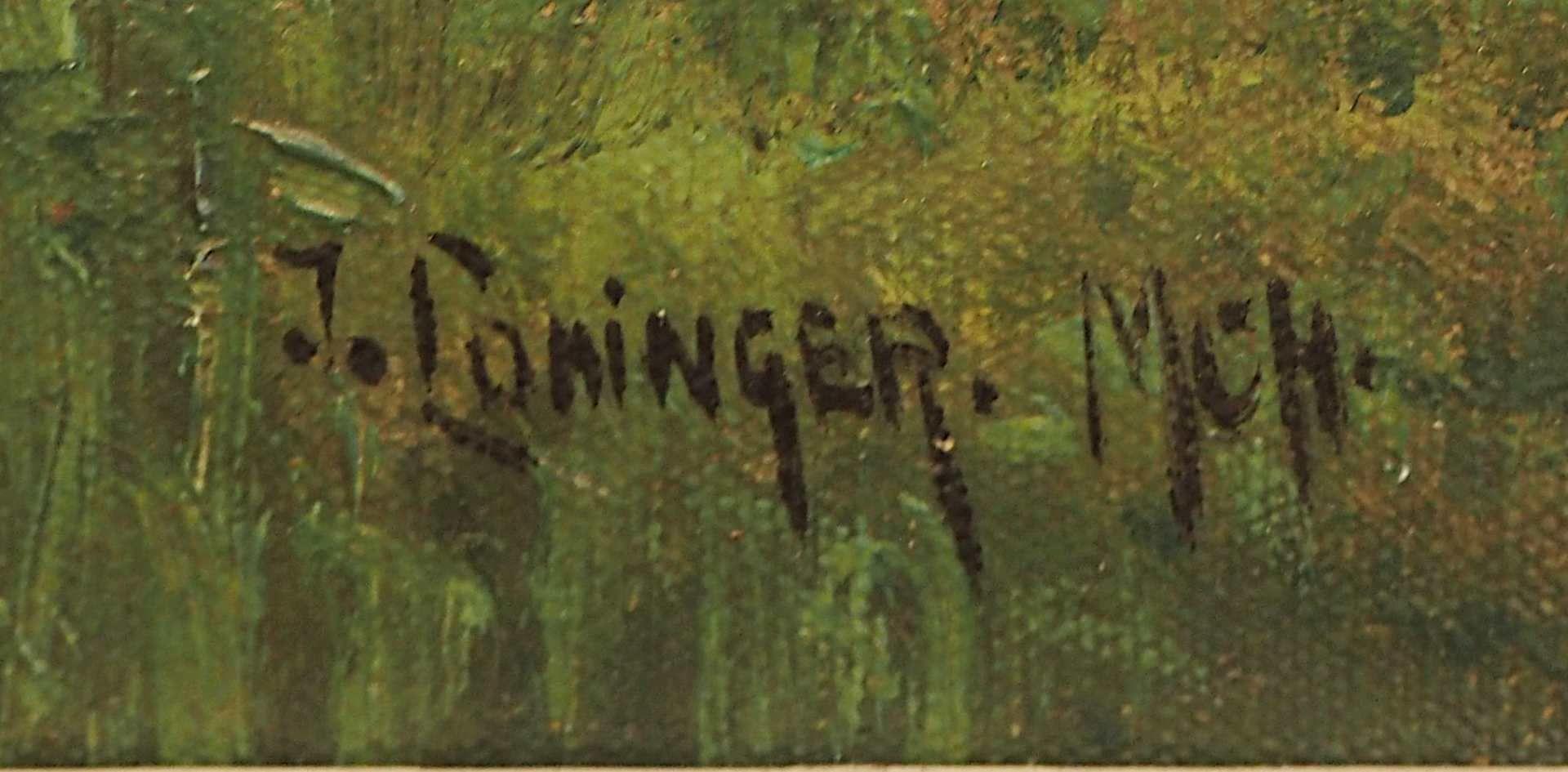 """1 Ölgemälde """"Dörfliche Idylle mit Federvieh und Misthaufen"""" L.u. sign. J. LOHINGER - Bild 3 aus 4"""