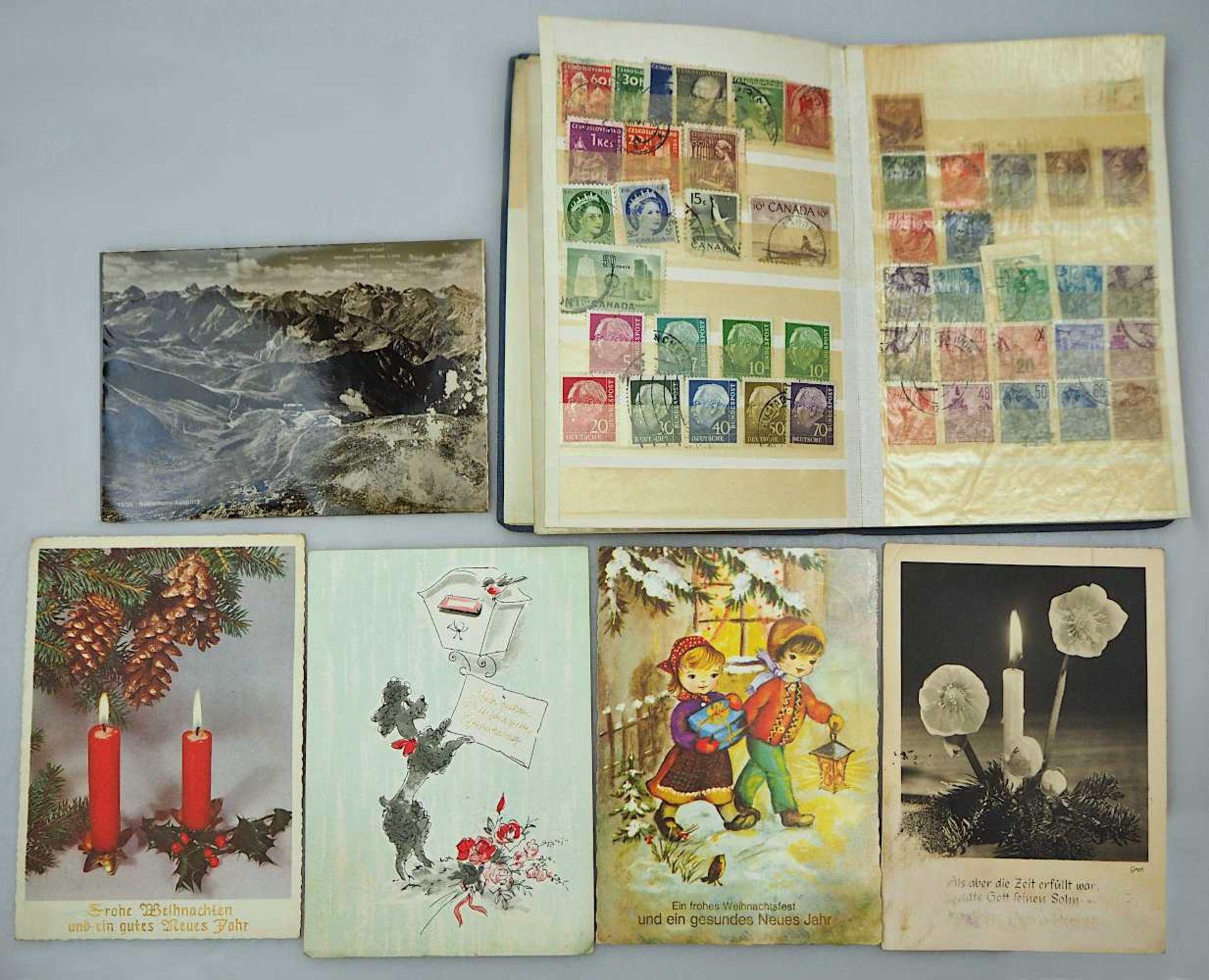 1 Konv. Briefmarken, BRD, DDR, Alle Welt z.T. in Album/ auf Briefumschlägen/lose sowi