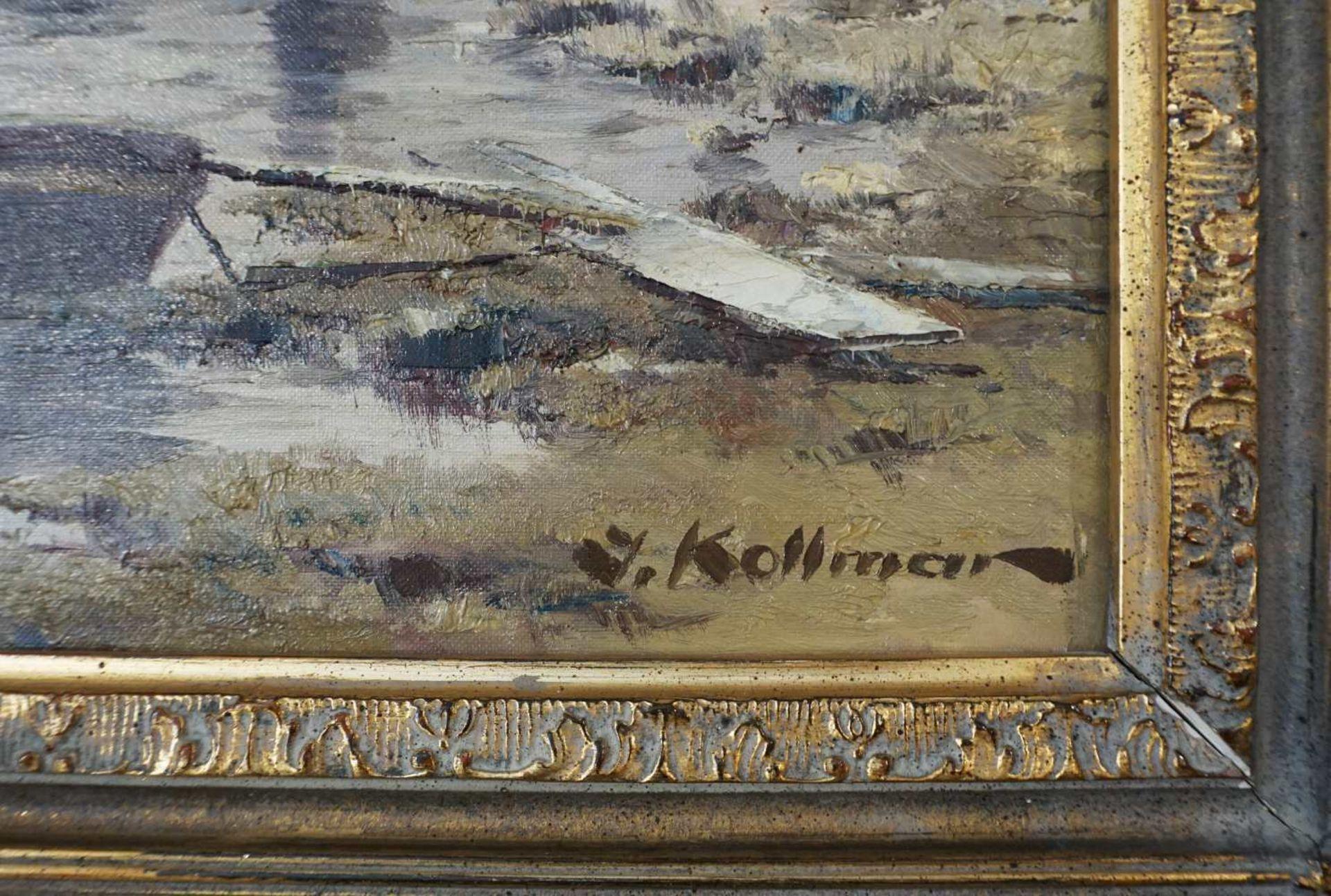 """1 Ölgemälde """"Fischerboote vor Nordsee-Dorf"""" R.u. sign. J. KOLLMAR (wohl Josef K. 20. - Bild 5 aus 5"""