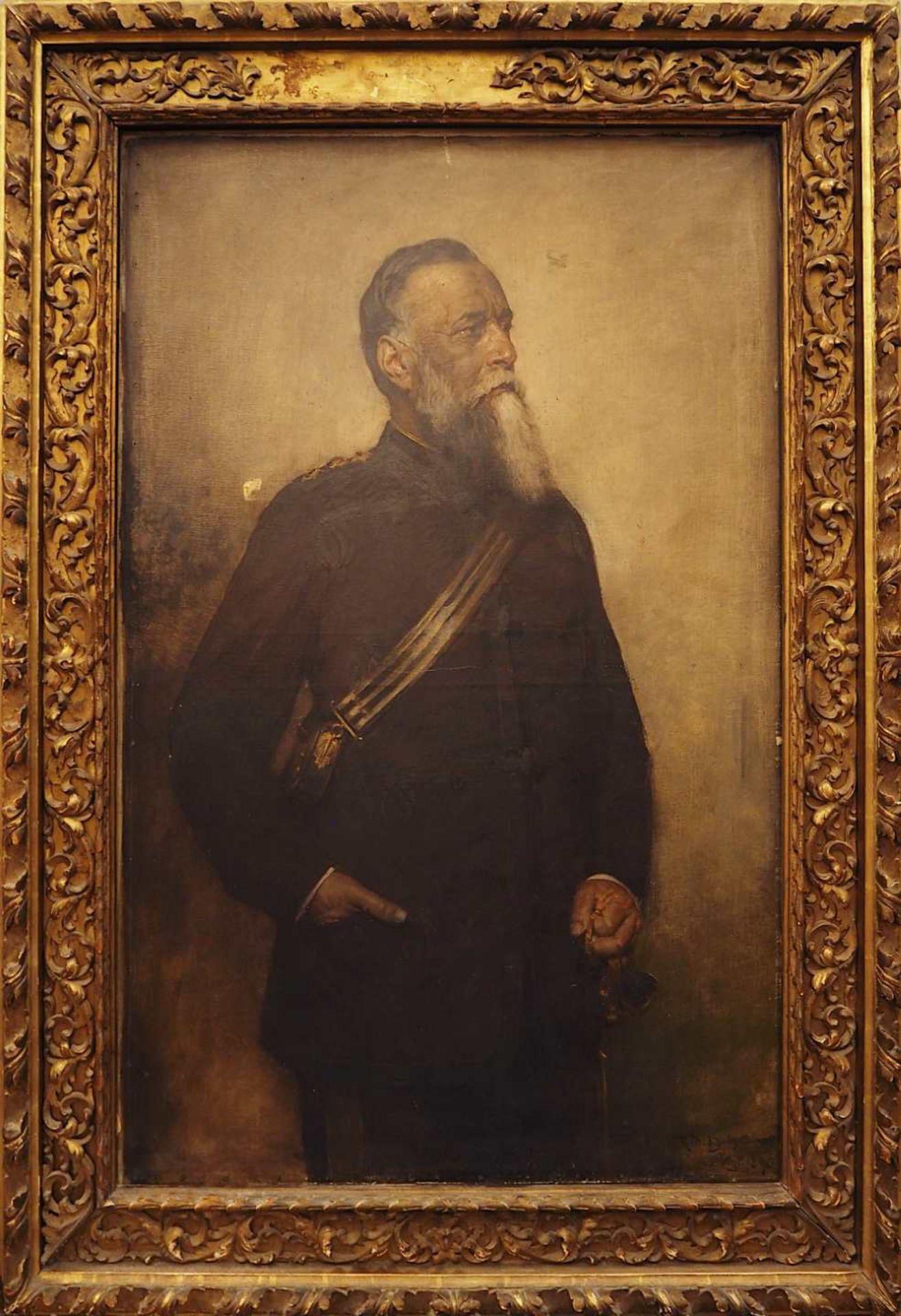 """1 Ölgemälde """"Portrait eines Generals mit Munitionstasche und Paradesäbel"""" R.u. sign. - Bild 2 aus 5"""