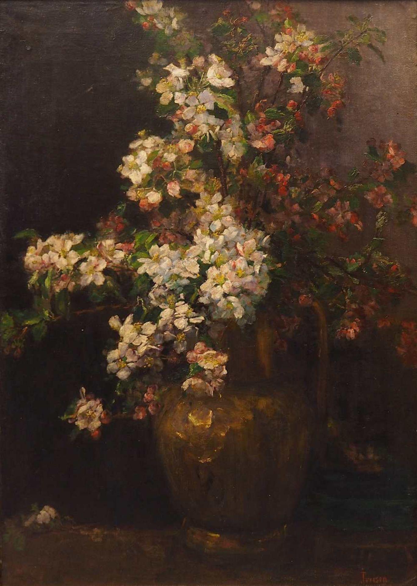 """1 Ölgemälde R.u. sign. IVERSEN (wohl Helene I. 1870 bis ca. 1930), """"Stillleben mit Apfelblüte"""